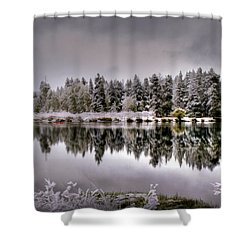 The Red Canoe Shower Curtain by Donna Kennedy