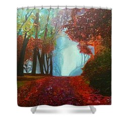 The Red Cathedral - A Journey Of Peace And Serenity Shower Curtain by Belinda Low