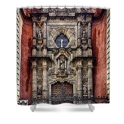 The Red Church Shower Curtain by Lynn Palmer