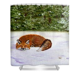 The Red Fox Of Winter Shower Curtain