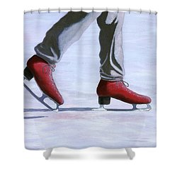 The Red Ice Skates Shower Curtain