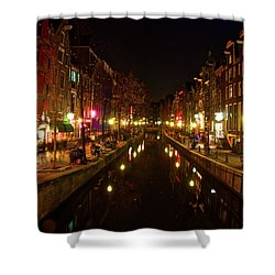 The Red Lights Of Amsterdam Shower Curtain by Jonah  Anderson