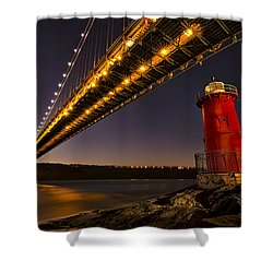 The Red Little Lighthouse Shower Curtain