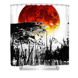The Red Moon - Landscape Art By Sharon Cummings Shower Curtain by Sharon Cummings