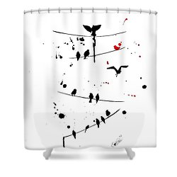 The Red Shower Curtain by Oddball Art Co by Lizzy Love