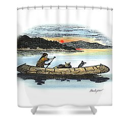 The Red Paint People Arrive Shower Curtain