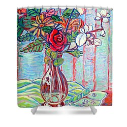 The Red Rose Shower Curtain by Kendall Kessler