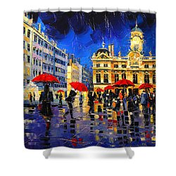The Red Umbrellas Of Lyon Shower Curtain
