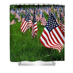 The Red White And Blue  American Flags Shower Curtain by Donna Doherty