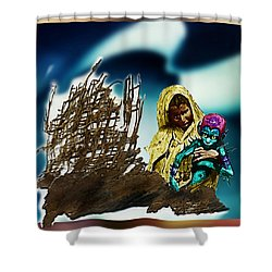 The Rescued  Alien  Child Shower Curtain by Hartmut Jager