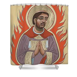 Shower Curtain featuring the painting The Retablo Of San Lorenzo Del Fuego 253 by William Hart McNichols