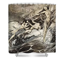 The Rhinemaidens Obtain Possession Of The Ring And Bear It Off In Triumph Shower Curtain by Arthur Rackham