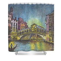 Relections Of Light And The Rialto Bridge An Evening In Venice  Shower Curtain