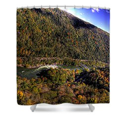 The River Below Shower Curtain by Jonny D