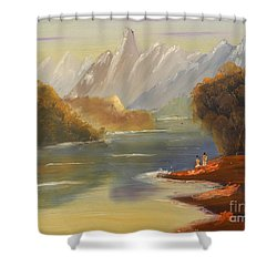 The River Flowing From A High Mountain Shower Curtain