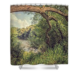 The River Severn At Buildwas Shower Curtain by Amanda Elwell