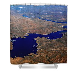 The River Winds Shower Curtain by Natalie Ortiz