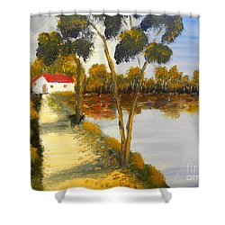 Shower Curtain featuring the painting The Riverhouse by Pamela  Meredith