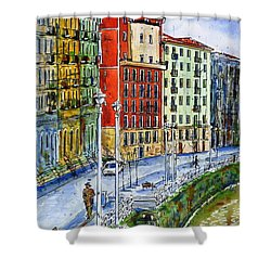 The Riverside Houses At Bilbao La Vieja Shower Curtain