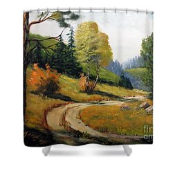 The Road Not Taken Shower Curtain by Lee Piper