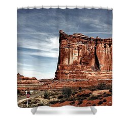 The Road Through Arches Shower Curtain by Benjamin Yeager