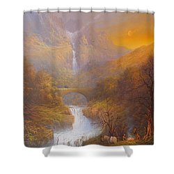 The Road To Rivendell The Lord Of The Rings Tolkien Inspired Art  Shower Curtain by Joe  Gilronan