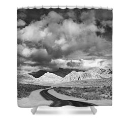 The Road To Turtlehead Peak Las Vegas Strip Nevada Red Rock Canyon Mojave Desert Shower Curtain by Silvio Ligutti