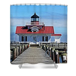 The Roanoke Marshes Lighthouse  Shower Curtain