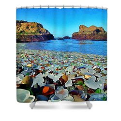 Glass Beach In Cali Shower Curtain by Catherine Lott
