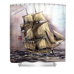 The Us Tall Shiprose Off The Fastnet Shower Curtain