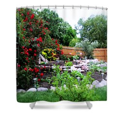 The Roses Are Blooming Shower Curtain by Kay Novy