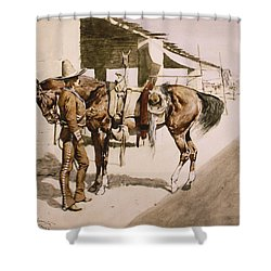 The Rural Guard Mexico Shower Curtain by Frederic Remington