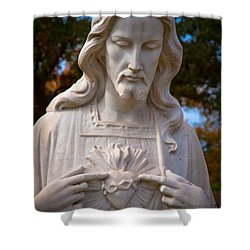 The Sacred Heart Shower Curtain by Linda Unger