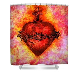 The Sacred Heart Of Jesus Christ Shower Curtain by Annie Zeno