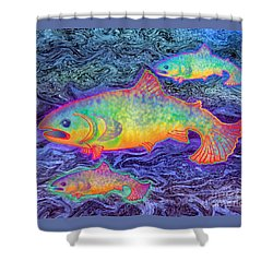 Shower Curtain featuring the mixed media The Salmon King by Teresa Ascone