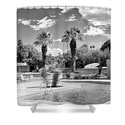 The Sandpiper Pool Bw Palm Desert Shower Curtain by William Dey