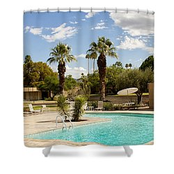 The Sandpiper Pool Palm Desert Shower Curtain by William Dey