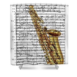 The Saxophone Shower Curtain