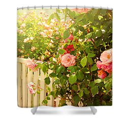 The Scent Of Roses And A White Fence Shower Curtain