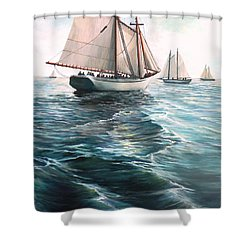 The Schooners Shower Curtain