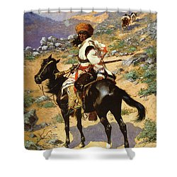 The Scout Friends Or Enemies Shower Curtain by Frederic Remington