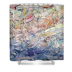Fragmented Sea Shower Curtain by James W Johnson