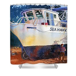 The Sea Hawk In Drydock Shower Curtain