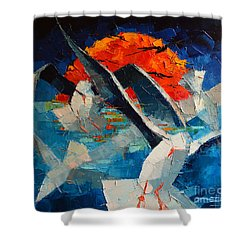The Seagulls 2 Shower Curtain by Mona Edulesco