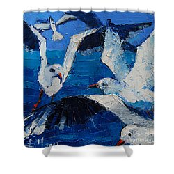 The Seagulls Shower Curtain by Mona Edulesco