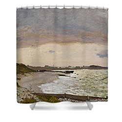 The Seashore At Sainte Adresse Shower Curtain by Claude Monet