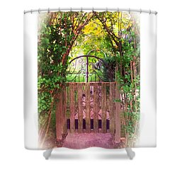 The Secret Gardens Gate Shower Curtain by Becky Lupe