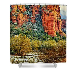 Shower Curtain featuring the photograph The Secret Mountain Wilderness In Sedona Back Country by Bob and Nadine Johnston
