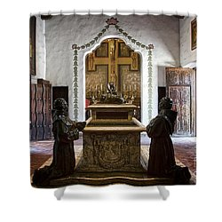 The Serra Cenotaph In Carmel Mission Shower Curtain