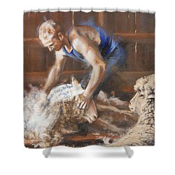 The Shearing Shower Curtain by Mia DeLode
